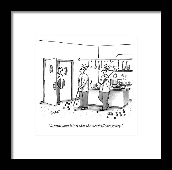 Chefs Framed Print featuring the drawing A Waiter Speaks To Two Chefs In A Kitchen Who by Tom Cheney