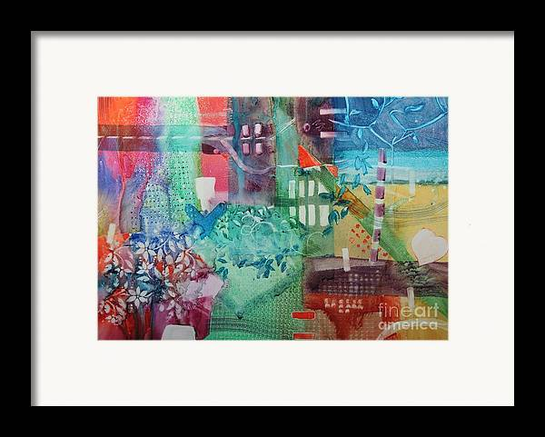 Abstract Framed Print featuring the painting A Spring Walk In The Park  by Elizabeth Carr