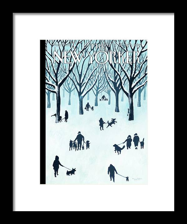 Snow Framed Print featuring the painting A Walk In The Snow by Mark Ulriksen
