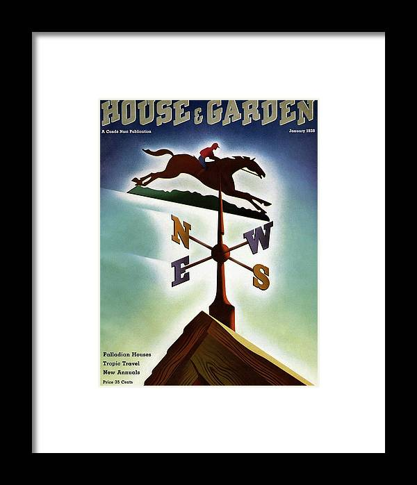 House And Garden Framed Print featuring the photograph A Weathervane With A Racehorse by Joseph Binder