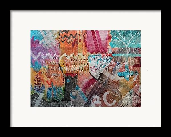 Abstract Framed Print featuring the painting A Winter Walk In The Park by Elizabeth Carr
