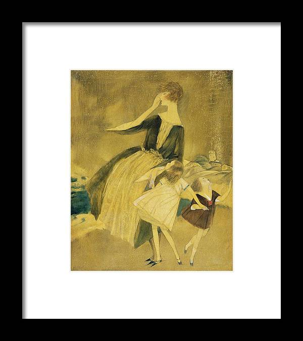 Children Framed Print featuring the digital art A Woman And Two Little Girls Walking by Henry R Sutter