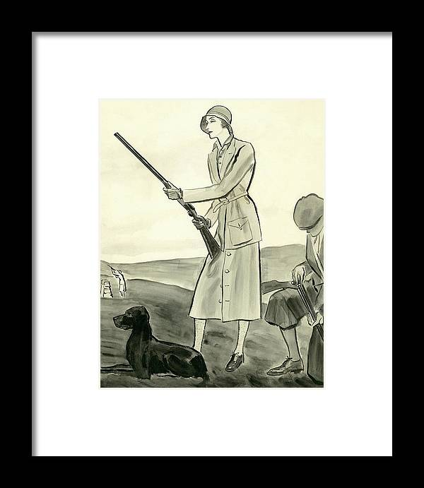 A Woman Hunting Framed Print by Rene Bouet-Willaumez