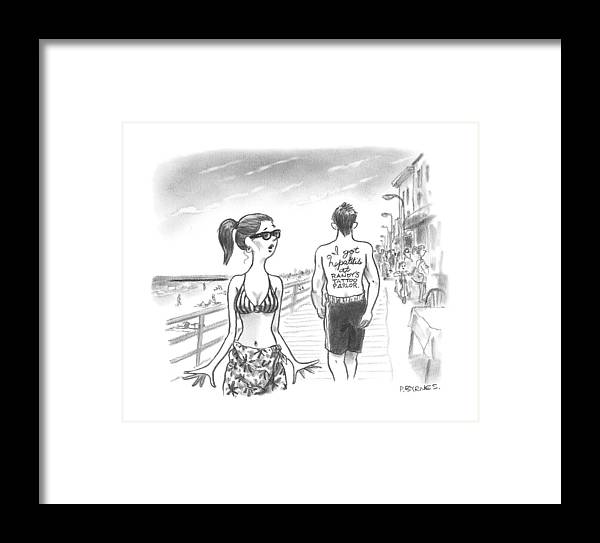 A Woman Passes A Man On The Boardwalk. Tattooed Framed Print by Pat ...