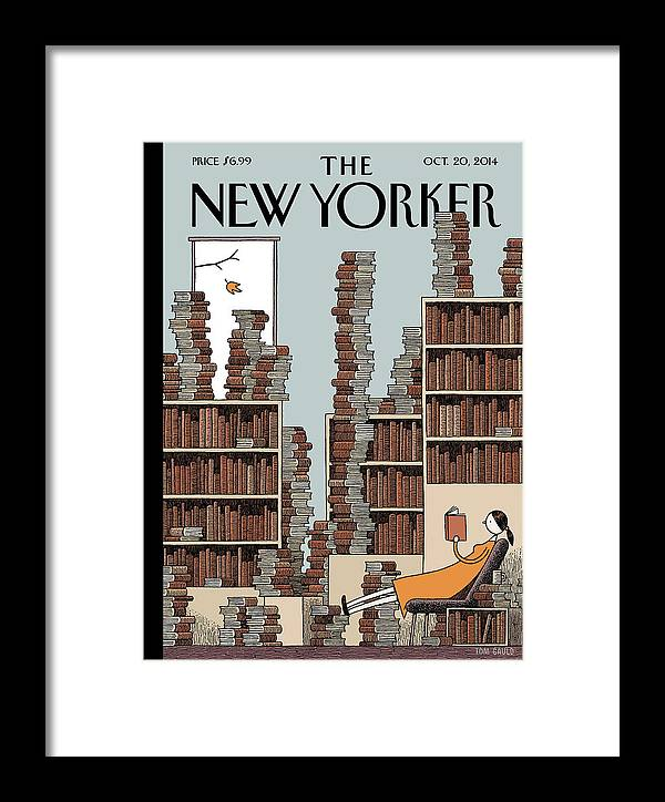 Books Framed Print featuring the painting Fall Library by Tom Gauld