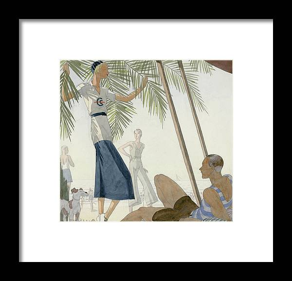 Water Framed Print featuring the digital art A Woman Wearing Patou Clothing At The Beach by Jean Pages