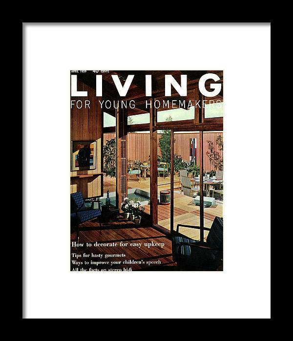 Architecture Framed Print featuring the digital art A Wood Paneled Living Room by Ernest Silva