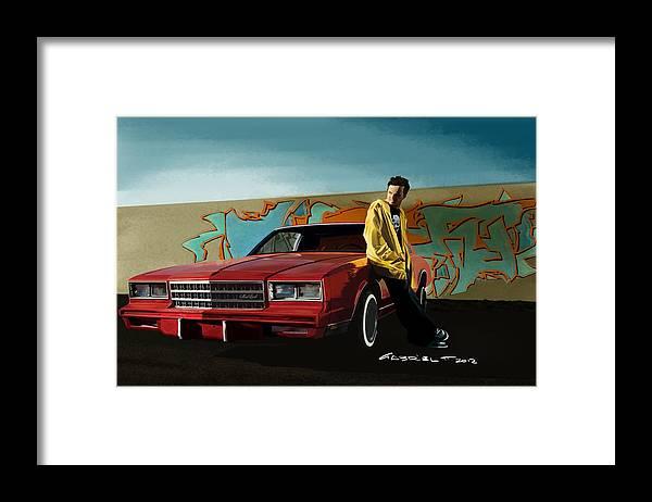 Aaron Paul Framed Print featuring the digital art Aaron Paul as Jesse Pinkman @ TV serie Breaking Bad by Gabriel T Toro