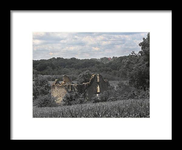 House Framed Print featuring the photograph Abandon Stone House And Steeple by Gerald Marella