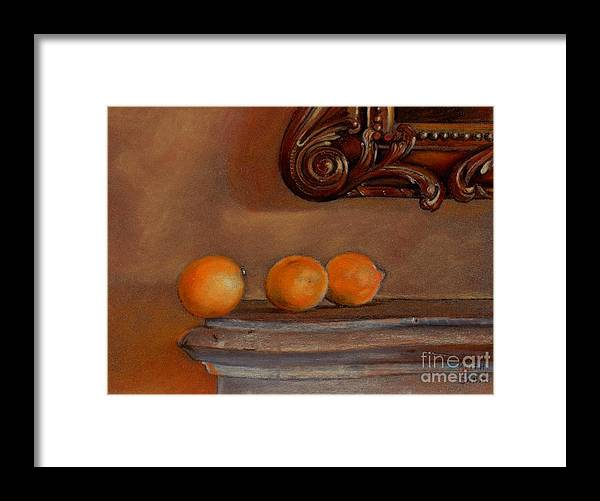 Fruit Framed Print featuring the pastel About to Fall by Keith Gantos
