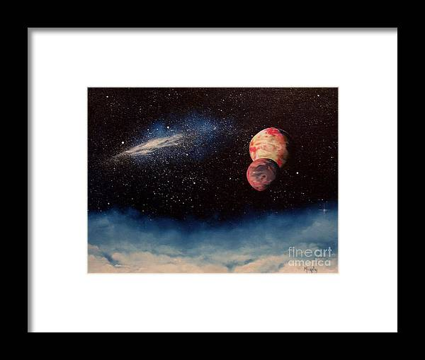 Landscape Framed Print featuring the painting Above Alien Clouds by Murphy Elliott