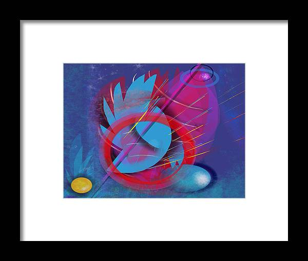 Abstract Artistic Magic Blue Red Colorful Non-objective Digital Art Framed Print featuring the digital art Abracadabra by Julie Richman