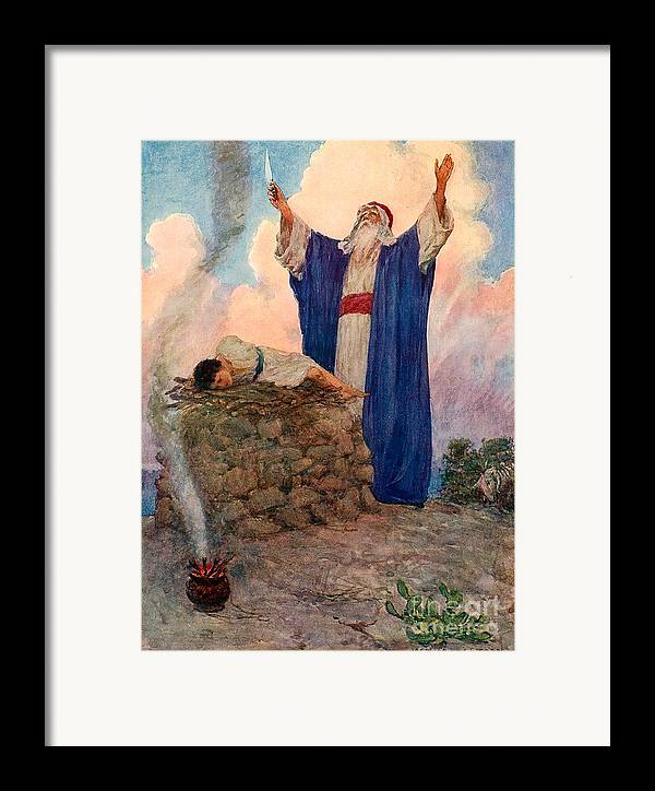 Bible; Abraham; Isaac; Mount Moriah; Sacrifice Framed Print featuring the painting Abraham And Isaac On Mount Moriah by William Henry Margetson