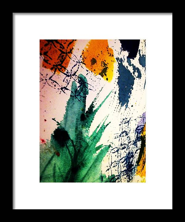 Splashes Of Color Framed Print featuring the painting Abstract - Splashes Of Color by Ellen Levinson