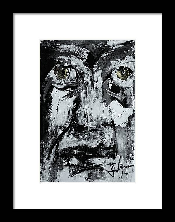 Face Framed Print featuring the mixed media Abstract 1 March 25 2014 by Jim Vance