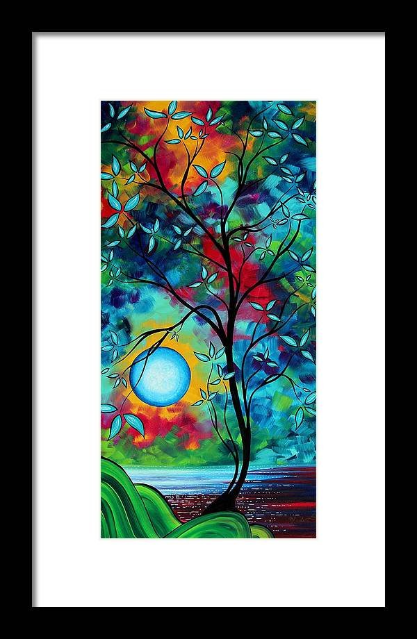 Art Framed Print featuring the painting Abstract Art Landscape Tree Blossoms Sea Painting Under The Light Of The Moon I By Madart by Megan Duncanson