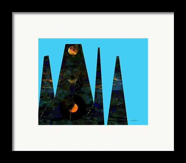 Abstract Framed Print featuring the digital art abstract - art- Mystical Moons by Ann Powell