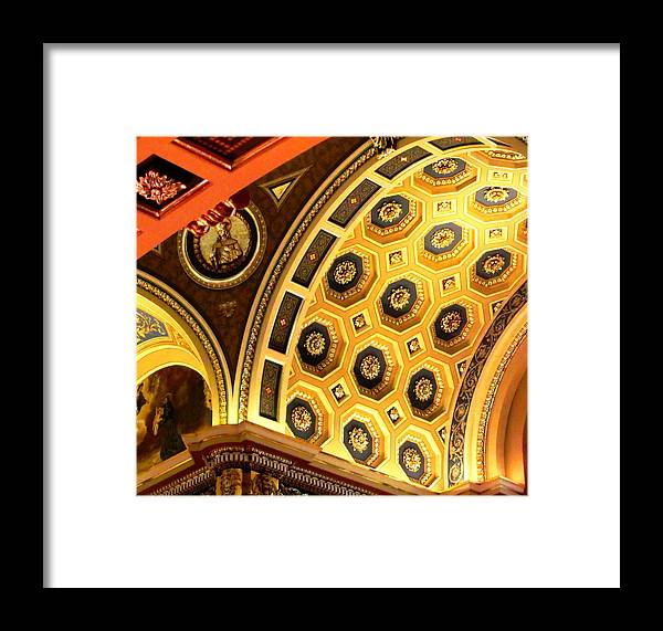 Abstract Framed Print featuring the photograph Architectural Abstract At Basilica by Karen Majkrzak