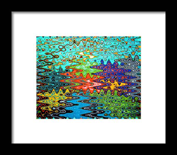 Abstract Framed Print featuring the painting Abstract Background With Bright Colored Waves 1 by Jeelan Clark
