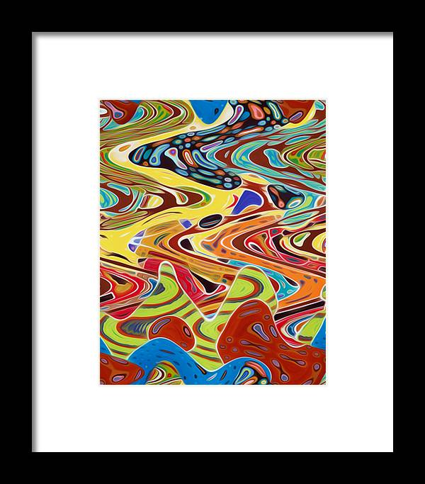 Abstract Framed Print featuring the painting Abstract Background With Bright Colored Waves 17 by Jeelan Clark