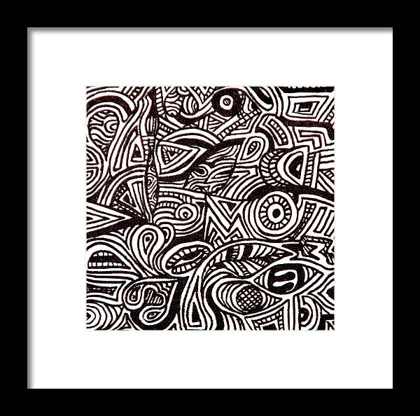 Abstract Black And White Ink Line Drawing Framed Print