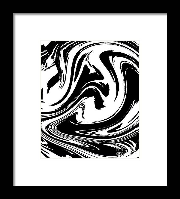 Abstract Circles Waves Black White Minimalist Art Print No.39 Framed ...