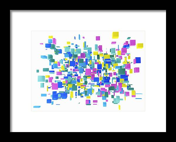 Abstract Cluster Of Multicolored Cubes On White Background Framed Print