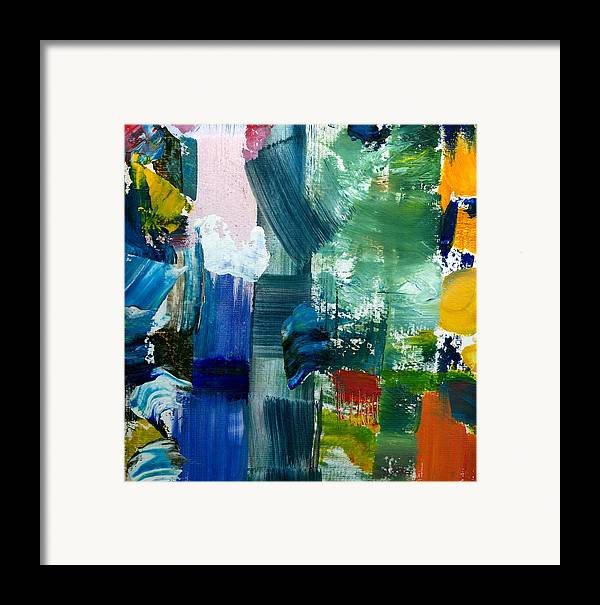 Abstract Collage Framed Print featuring the painting Abstract Color Relationships Lll by Michelle Calkins