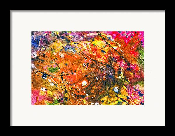 Abstract Framed Print featuring the mixed media Abstract - Crayon - The Excitement by Mike Savad
