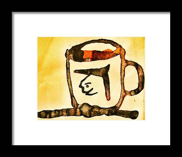Orange Brown Cup Framed Print featuring the painting Abstract Cup by Vineeth Menon