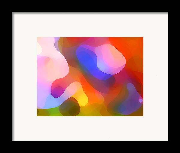 Abstract Art Framed Print featuring the painting Abstract Dappled Sunlight by Amy Vangsgard