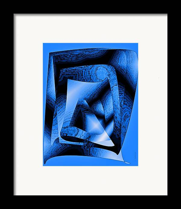 Design Framed Print featuring the digital art Abstract Design In Blue Contrast by Mario Perez