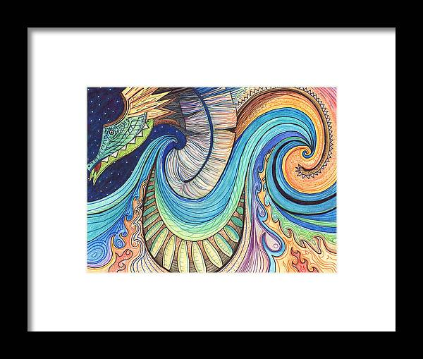 Dragon Framed Print featuring the drawing Abstract Dragon by Kate Fortin