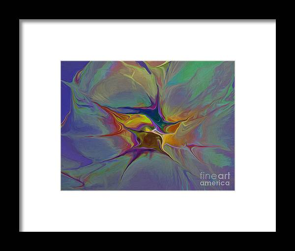 Abstract Framed Print featuring the digital art Abstract Explosion by Deborah Benoit