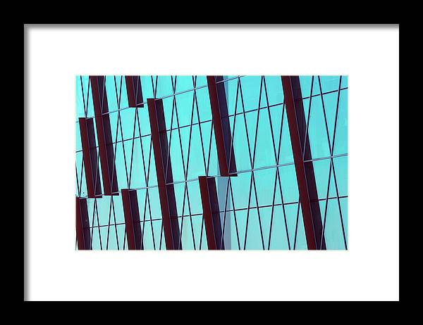 Ceiling Framed Print featuring the photograph Abstract Glass Surface With Geometric by Aapsky