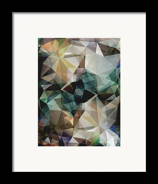 Graphic Design Framed Print featuring the digital art Abstract Grunge Triangles by Phil Perkins