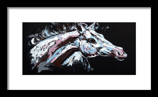 Abstract Horse Framed Print featuring the painting Abstract Horse by Konni Jensen