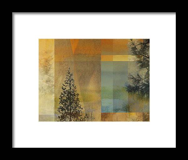 Abstract Trees Nature Orange Yellow Brown Blue Green Geometric Organic Art Painting Watercolor Digital Illustration Artwork Pines Conifers Northwest Oregon Rectangles Warmth Nature Organic Framed Print featuring the digital art Abstract Landscape One by Faye Cummings