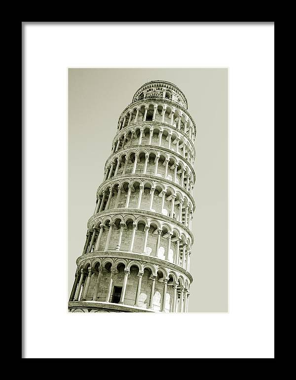 Architecture Framed Print featuring the photograph Abstract Leaning Tower Of Pisa by Gurgen Bakhshetsyan