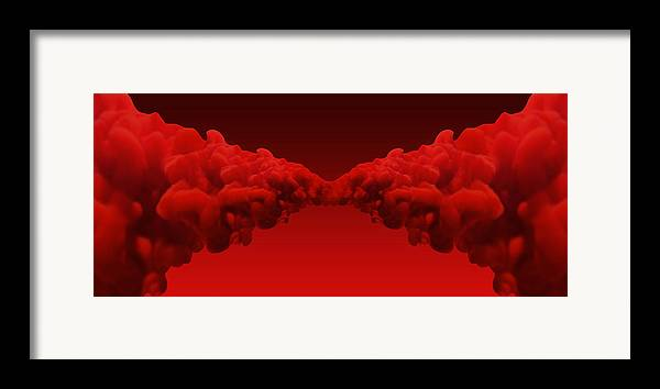 Drawing Framed Print featuring the digital art Abstract Merging Red Inks by Allan Swart