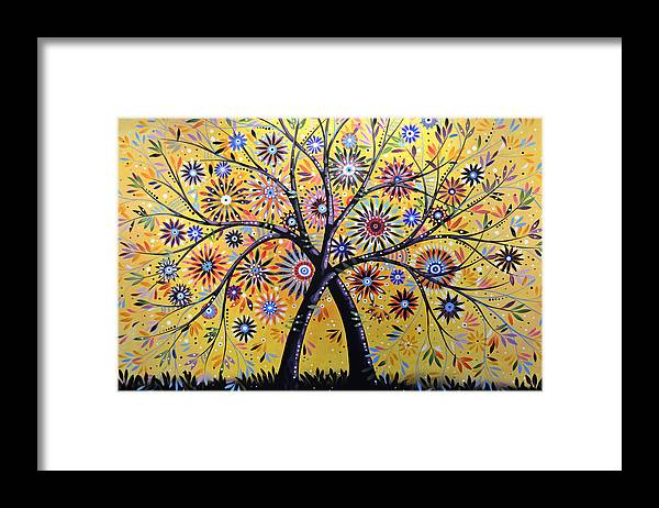 Nature Framed Print featuring the painting Abstract Modern Flowers Garden Art ... Flowering Tree by Amy Giacomelli