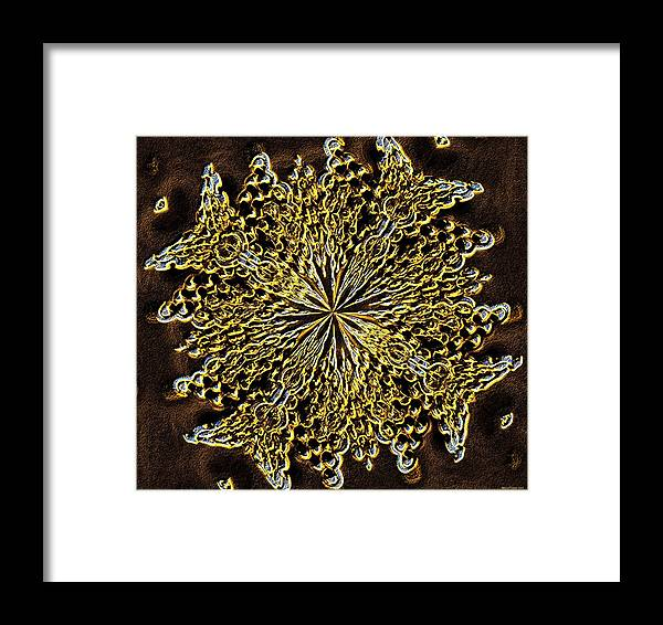 Abstract Neon Gold Framed Print featuring the digital art Abstract Neon Gold by Maria Urso