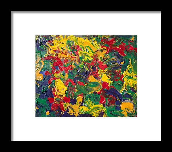 Abstract Framed Print featuring the painting Abstract Painting - Color Explosion by Portraits By NC