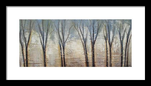 Painting Framed Print featuring the painting Abstract Painting Morning Fog by Jolina Anthony