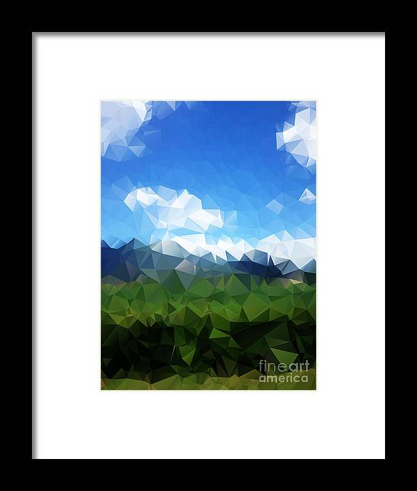 Forest Framed Print featuring the digital art Abstract Polygonal Landscape Background by Daria Iva