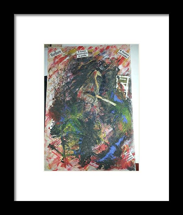 Abstract Framed Print featuring the drawing Abstract Smoker by Giuseppe Amodeo