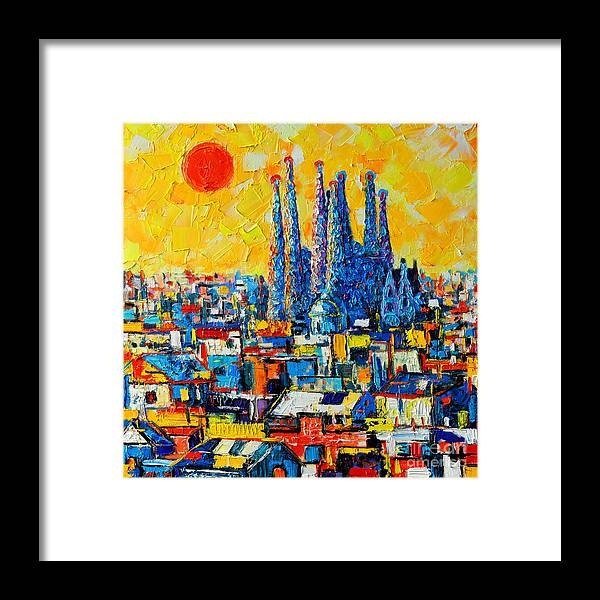 Barcelona Framed Print featuring the painting Abstract Sunset Over Sagrada Familia In Barcelona by Ana Maria Edulescu