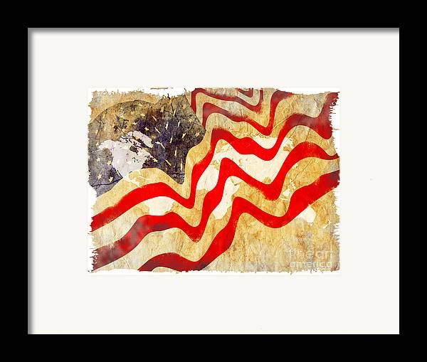 Usa Framed Print featuring the painting Abstract Usa Flag by Stefano Senise
