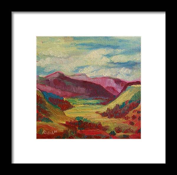Abstract Valley Framed Print featuring the painting Abstract Valley by Rivkah Singh