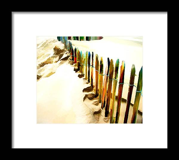 Beach Framed Print featuring the painting Abstracted March Of The Colored Dune Fence by Elaine Plesser